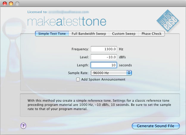 Audio Ease - Make a Test Tone - super high quality test tones
