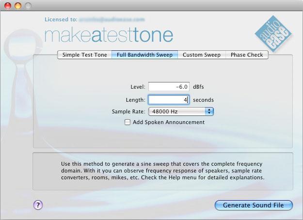 Audio Ease - Make a Test Tone - super high quality test tones